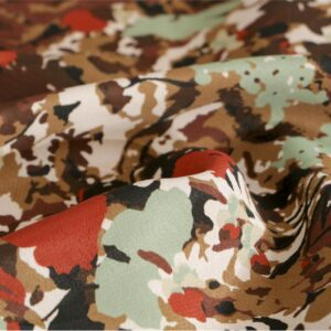 Brown, Orange Viscose Flowers Print fabric for Dress, Pants, Skirt.
