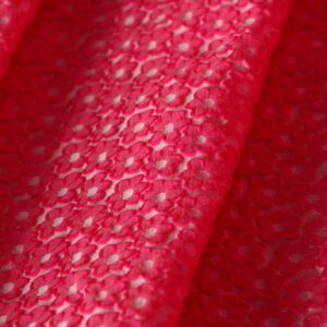 Fuxia Polyester Flowers Jacquard fabric for Dress, Jacket, Skirt.