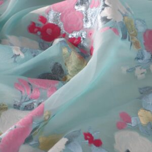 Blue Cotton, Polyester, Silk Flowers Jacquard fabric for Party dress.