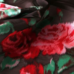 Black, Red Polyester, Silk Flowers Jacquard fabric for Party dress, Shirt.