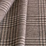 Beige, Gray Tartan Wool Coating Fabric - Quadrettato 000801