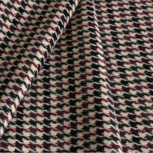 Beige, Red Polyester, Wool Tartan Coat fabric for Coat, Jacket, Skirt.