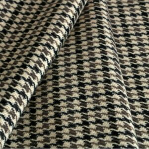 Beige, Green Polyester, Wool Tartan Coat fabric for Coat, Jacket, Skirt.