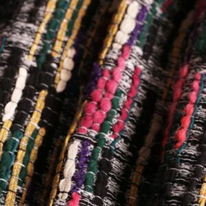 Multicolor Cotton, Polyester, Wool Stripes Bouclé/Weave/Tweed fabric for Jacket, Skirt.