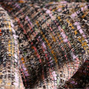 Multicolor Cotton, Polyester Geometric Bouclé/Weave/Tweed fabric for Jacket, Skirt.