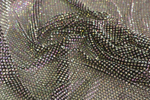 Stunning black rhinestone mesh fabric | new tess