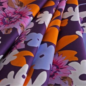 Multicolor, Orange, Pink, Purple Cotton Print fabric for Dress, Shirt.