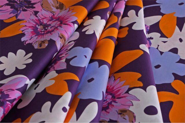 Multicolor, Orange, Pink, Purple Cotton Sateen Floral Fabric