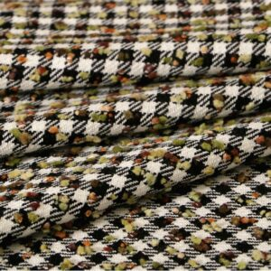 Black, Green, Multicolor, White Polyester, Wool Bouclé fabric for Jacket, Skirt.