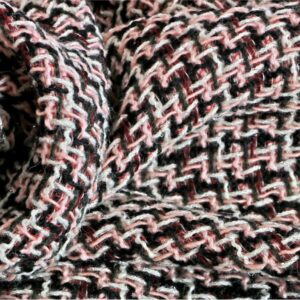 Black, Multicolor, Pink, White Polyester, Wool Bouclé fabric for Dress, Jacket, Skirt.