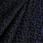 Tessuto Intreccio 001 Blu, Nero per Abbigliamento