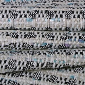 Blue, White Cotton, Viscose, Wool Bouclé/Weave/Tweed fabric for Jacket, Skirt.