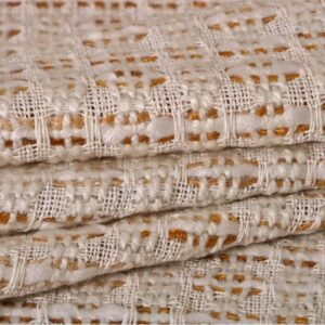 White, Yellow Cotton, Viscose, Wool Bouclé/Weave/Tweed fabric for Jacket, Skirt.