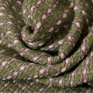 Gray, Green, White Cotton, Silk, Viscose Bouclé fabric for Jacket, Skirt.