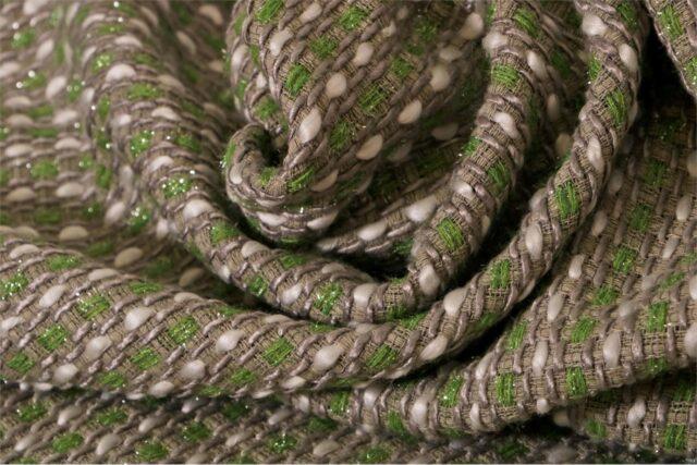 Tessuto Intreccio 001 Bianco, Grigio, Verde per Abbigliamento
