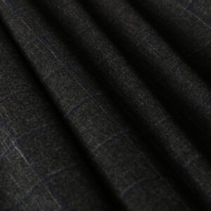 Gray Polyester, Wool Tartan Fine Suit fabric for Dress, Jacket, Pants, Skirt.