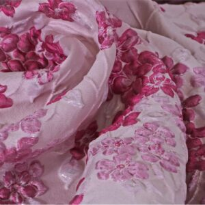 Fuxia, Pink Polyester, Silk Jacquard fabric for Ceremony Dress, Dress, Jacket, Light Coat.