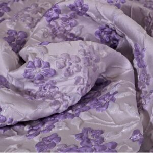 Purple Polyester, Silk Jacquard fabric for Ceremony Dress, Dress, Jacket, Light Coat.