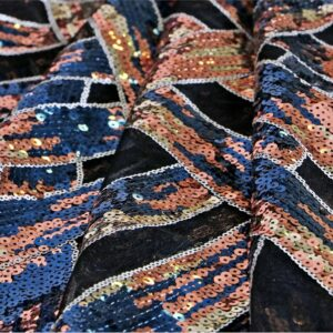 Black Polyester Sequins Laces-Embroidery fabric for Party dress.