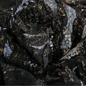 Tessuto Pizzo-Ricamo Nero in Poliestere per Abito da Sera.