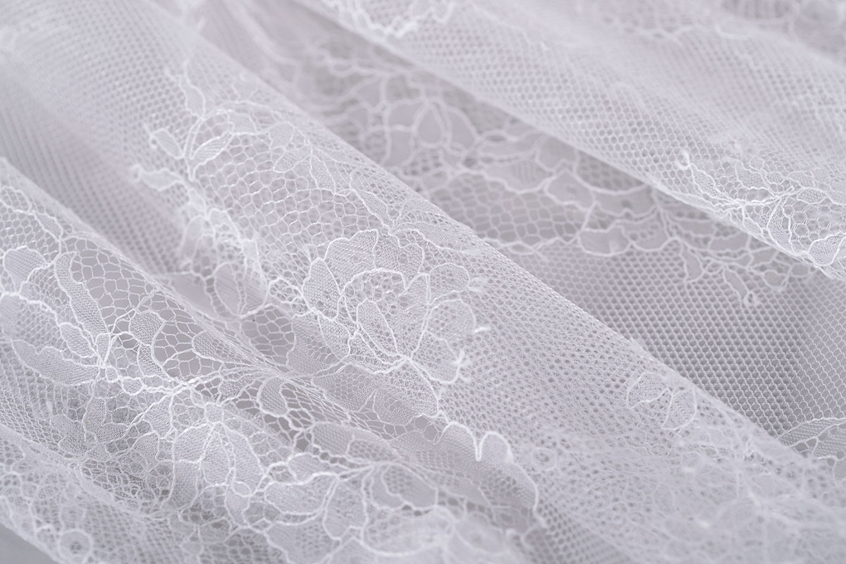 White chantilly lace double scalloped | new tess bridal fabrics