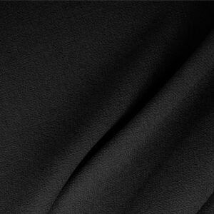 Black Wool Double Crêpe Plain fabric for Ceremony Dress, Dress, Jacket, Light Coat, Pants, Party dress, Skirt.