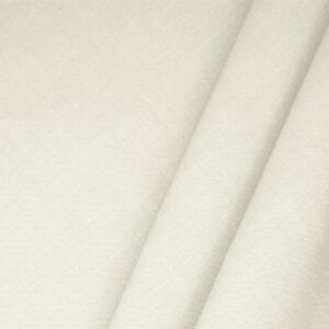 Avorio White Linen Blend Plain fabric for Dress, Jacket, Light Coat, Pants, Skirt.