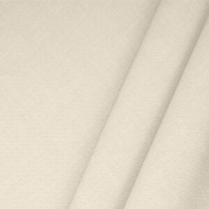 Ecru Beige Linen Blend Plain fabric for Dress, Jacket, Light Coat, Pants, Skirt.