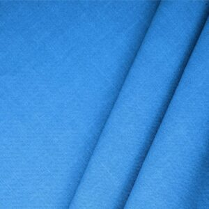 Elettrico Blue Linen Blend Plain fabric for Dress, Jacket, Light Coat, Pants, Skirt.