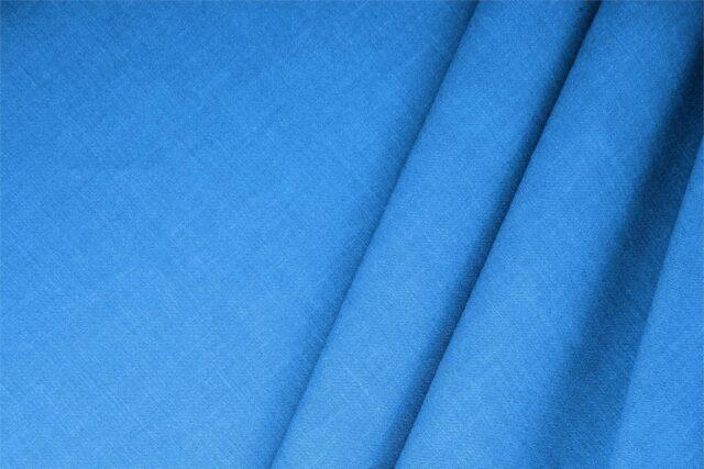 Tessuto Unito Misto Lino Blu Elettrico in per Abito, Giacca, Gonna, Pantalone, Spolverino.