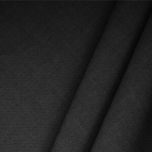 Black Linen Blend Plain fabric for Dress, Jacket, Light Coat, Pants, Skirt.