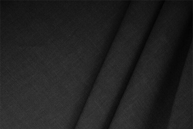 Tessuto Misto Lino nero per abbigliamento