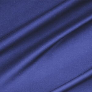 Zaffiro Blue Lightweight cotton sateen stretch Plain fabric for Dress, Jacket, Light Coat, Pants, Skirt.