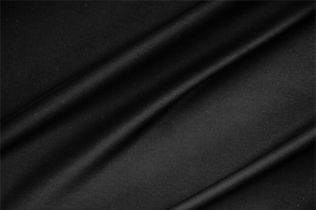 Black lightweight stretch cotton sateen fabric for dressmaking