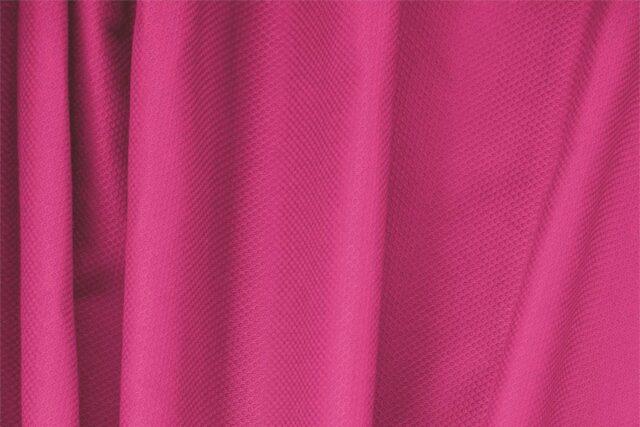 Tessuto Piquet Stretch di Cotone Fuxia per abbigliamento