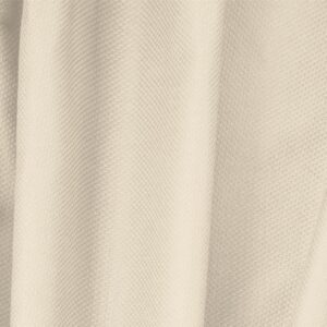 Ecru Beige Cotton, Stretch Pique Stretch Plain fabric for Dress, Jacket, Light Coat, Pants, Skirt.