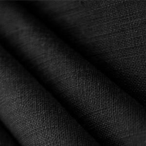Black Linen Canvas Plain fabric for Dress, Jacket, Pants, Shirt, Skirt.