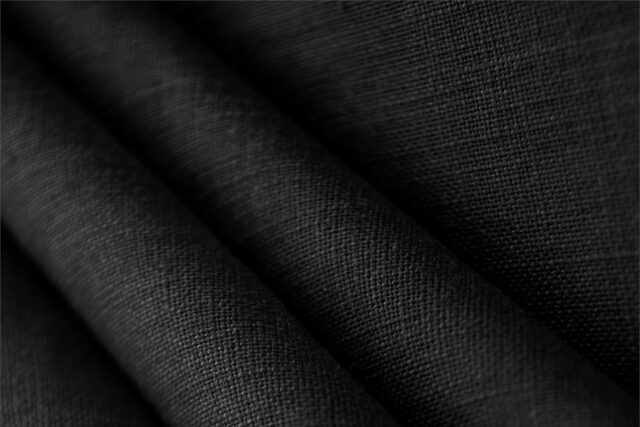 Black yarn dyed linen canvas fabric for dressmaking