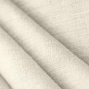 Avorio White Linen Canvas Plain fabric for Dress, Jacket, Pants, Shirt, Skirt.
