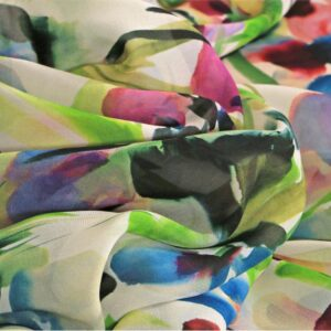 Tessuto Stampa Floreali Blu, Fucsia, Multicolore, Verde in Seta per Abito, Abito da Cerimonia, Camicia.