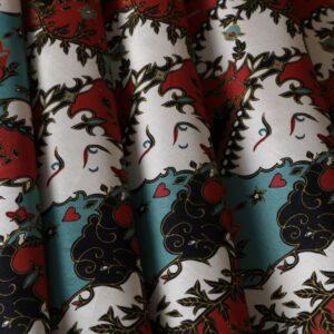 Blue, Red Cotton, Viscose Flowers Print fabric for Dress, Pants, Shirt, Skirt.