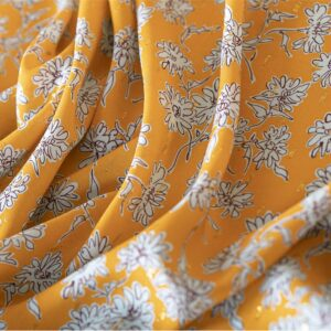 Orange Viscose Flowers Print fabric for Dress, Shirt.