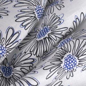 Black, White Linen Canvas Flowers Print fabric for Dress, Skirt.