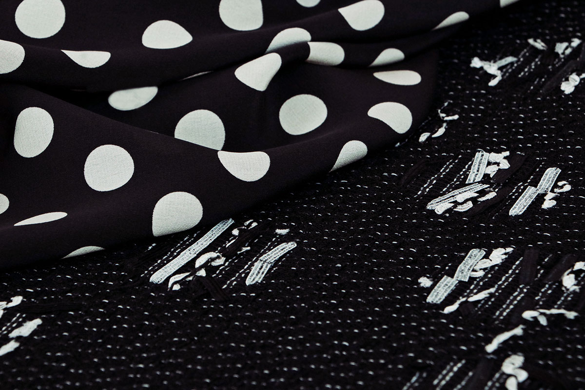 Black and white premium Italian fabrics for dressmaking | new tess