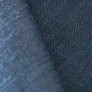 Tessuto Drapperia Blu in Cotone, Lino per Giacca.