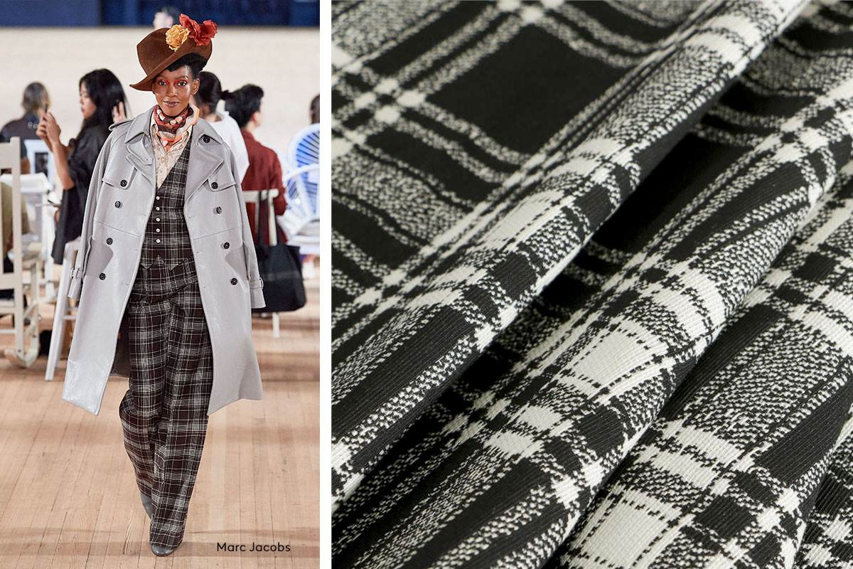 Black and white tartan fabric | new tess