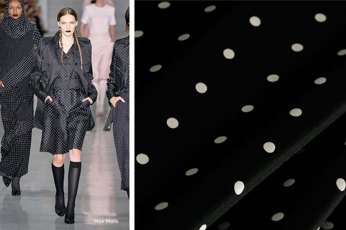 Black and white polka dots silk satin fabric | new tess