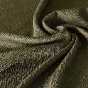 Green Cotton, Viscose Jacquard fabric for Dress, Jacket, Light Coat, Skirt.