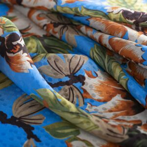 Blue, Orange Silk, Viscose Flowers Print fabric for Dress, Shirt, Skirt.