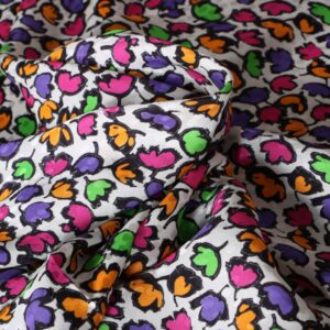 Fuxia, Multicolor, Purple, White Silk, Viscose Flowers Print fabric for Dress, Shirt, Skirt.